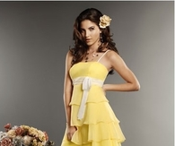 Yellow Chiffon Layered Cocktail Dress