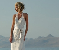 Custom Made Embroidered Bow Halter Lace Wedding Gown