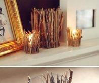 Hot Glue Twigs around Glass Tumbler for a Rustic Candle Holder