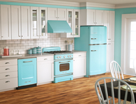 Kitchen with Retro Blue Appliances