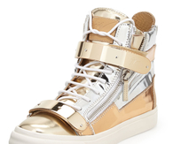 Men's Giuseppe Zanotti High Top Metalic Sneakers In Gold