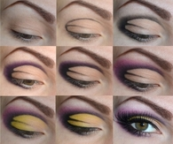 Purple-yellow art eye makeup