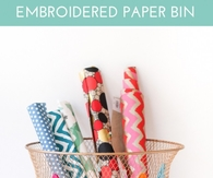 Embroidered Paper Bin