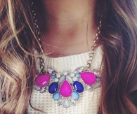 Pink and blue stone necklace