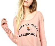 Loose Pink Letter Print Long Sleeve T Shirt TS0150112