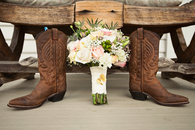 Boots and bouquet