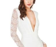 White Lace Deep V Neck Cut Out Back Short Dress DR0150460-2