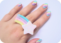 Pastel Rainbow Nails with Matching Ring
