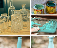 DIY Colored  Glass Centerpieces