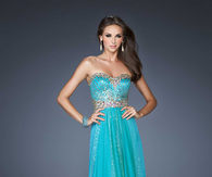 Blue Strapless A-line Sweetheart Prom Dress