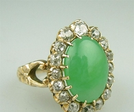 Antique Gold Diamond Jade Ring