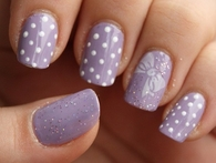 Polka dot lavender nails