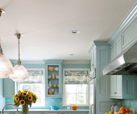 Pale teal kitchen