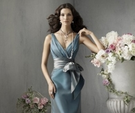 Blue Gray Satin Formal Gown with Halter