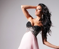 Strapless Pleated Pink & Black Evening Gown