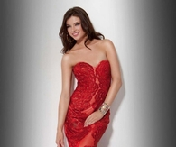 Gorgeous Red Silk Gown with Lace Overlay