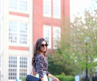 White Pleated Midi Skirt with Leopard Top