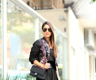 Black Mini Dress with Floral Printed Jacket