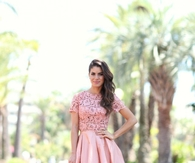 Pretty Pink Midi Skirt with Lace Top