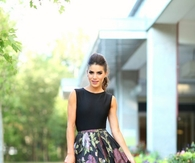 Dressy Floral Midi Skirt with Pink High Heels