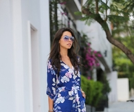 Blue Hawaiian Print Romper with White Strappy Heels