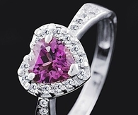 Ring with Purple Heart Amethyst Surrounded by Diamonds