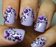 Lavender Nails with Sequins