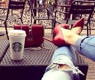 Starbucks and red pumps