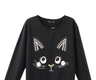 Cat Print Black Round Neck Sweatshirt With Beading Embellishment SS0170005