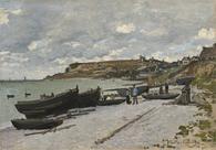 Amazing Canvas Art of Beach At Sainte Adresse by Claude Monet