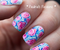 Pink floral nails