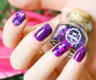Violet glossy nails