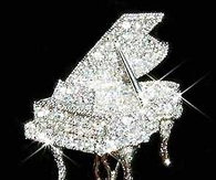 Crystal Grand Piano Brooch