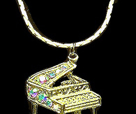 Gold Piano Necklace with Colored Rhinestones