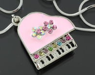 Pink Piano Necklace with Colored Crystal Stones