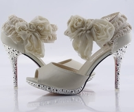 Beautiful Ivory Stiletto Sandals with Ankle Wrap
