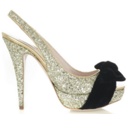 Silver Glitter Slingbacks with black bow
