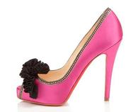 Pink Satin High Heels with Black Ribbon
