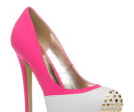 Hot Pink & White Pumps with Gold Studs