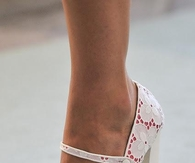 Cute White Pumps with Lace Flower Print