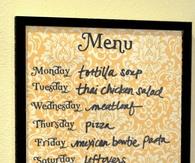Wipe off weekly menu board