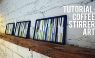 Coffee stirrer DIY wall art