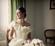 Beautiful Ruffled, Off Shoulder Wedding Gown