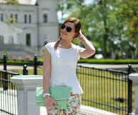 Floral Pants with Strappy High Heel Sandals & White Blouse