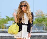White Lace Mini Dress with Black Belt, Blazer & Platform Sandals