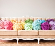 Vintage Sofa with Colorful Rose Pillows