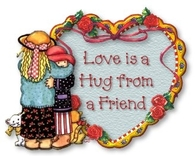 Love is a hug from a friend