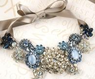 Gorgeous Necklace with Blue Diamonds & Stones