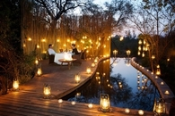 Romantic Lanterns, Pond and Dining Area