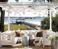 Outdoor Pergola with Hanging Lanterns